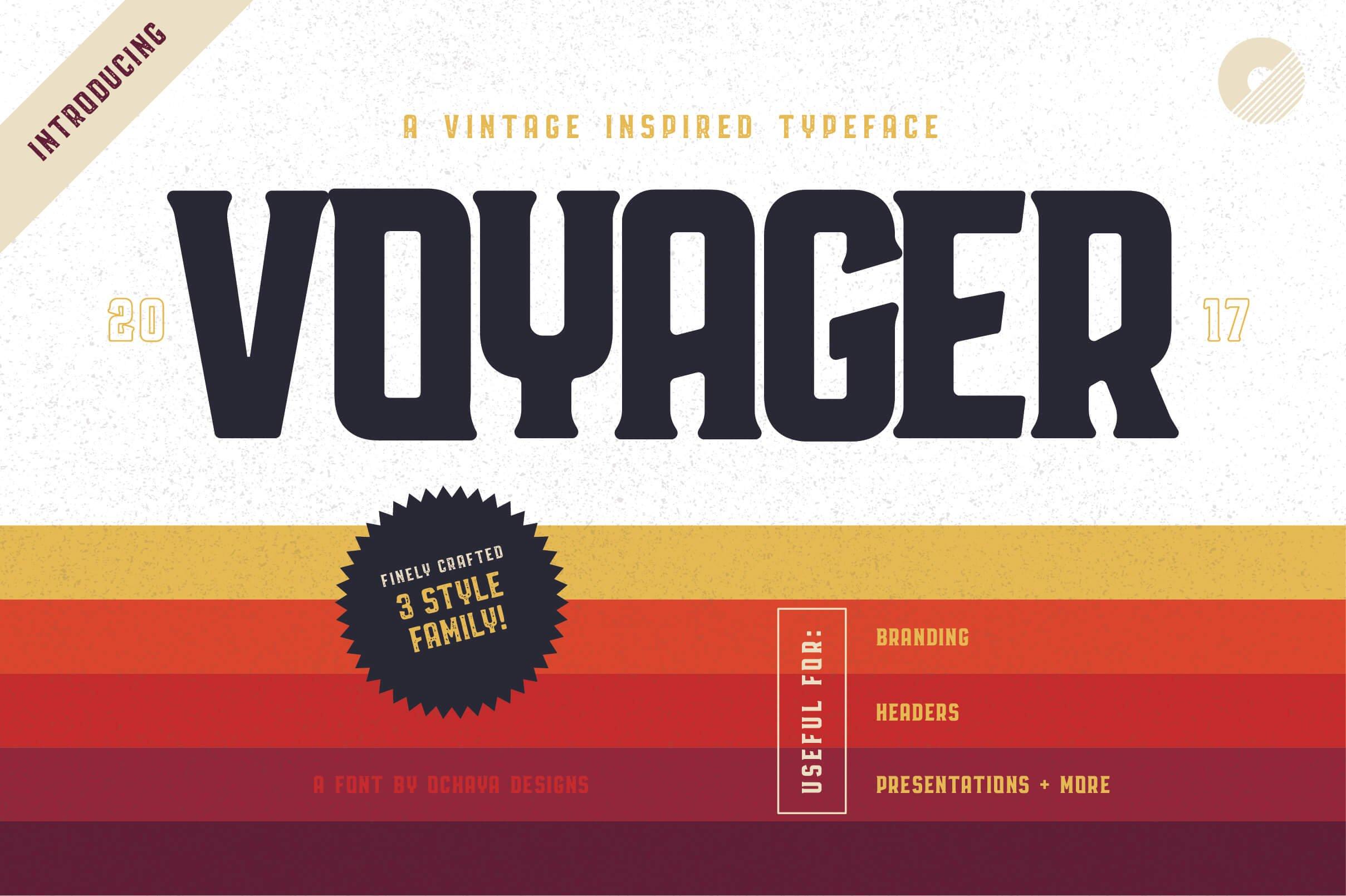 Free Voyager Font Trio Header